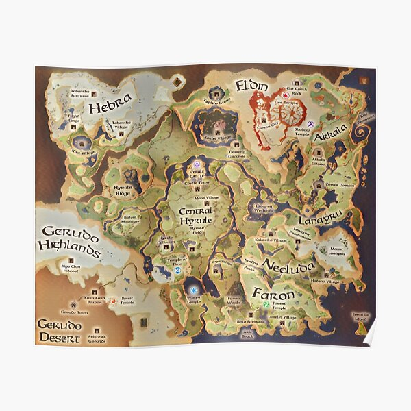 Hyrule Map Posters Redbubble