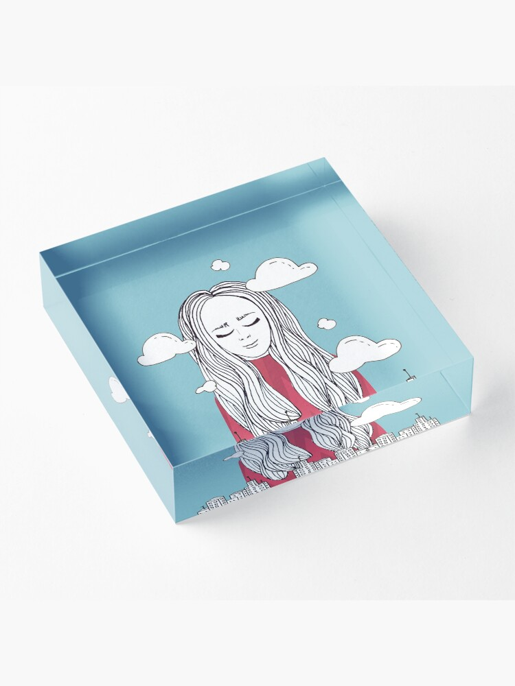 Alternate view of Daydreaming - Head in the clouds Acrylic Block
