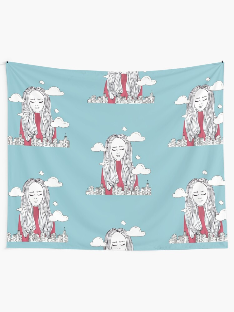 Alternate view of Daydreaming - Head in the clouds Tapestry