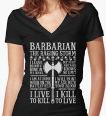 BARBARIAN, THE RAGING STORM - Dungeons & Dragons (White) Women's Fitted V-Neck T-Shirt