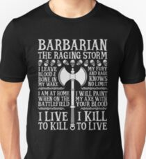 BARBARIAN, THE RAGING STORM - Dungeons & Dragons (White) Unisex T-Shirt