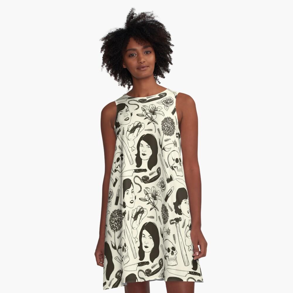Wahre Kriminalitätsmuster A-Linien Kleid