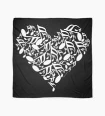 White Music Notes Heart Scarf