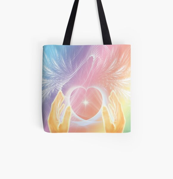 Healing with Angels and Rainbows All Over Print Tote Bag