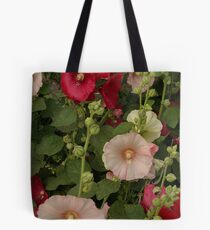 Pink and Red Hollyhocks  Tote Bag
