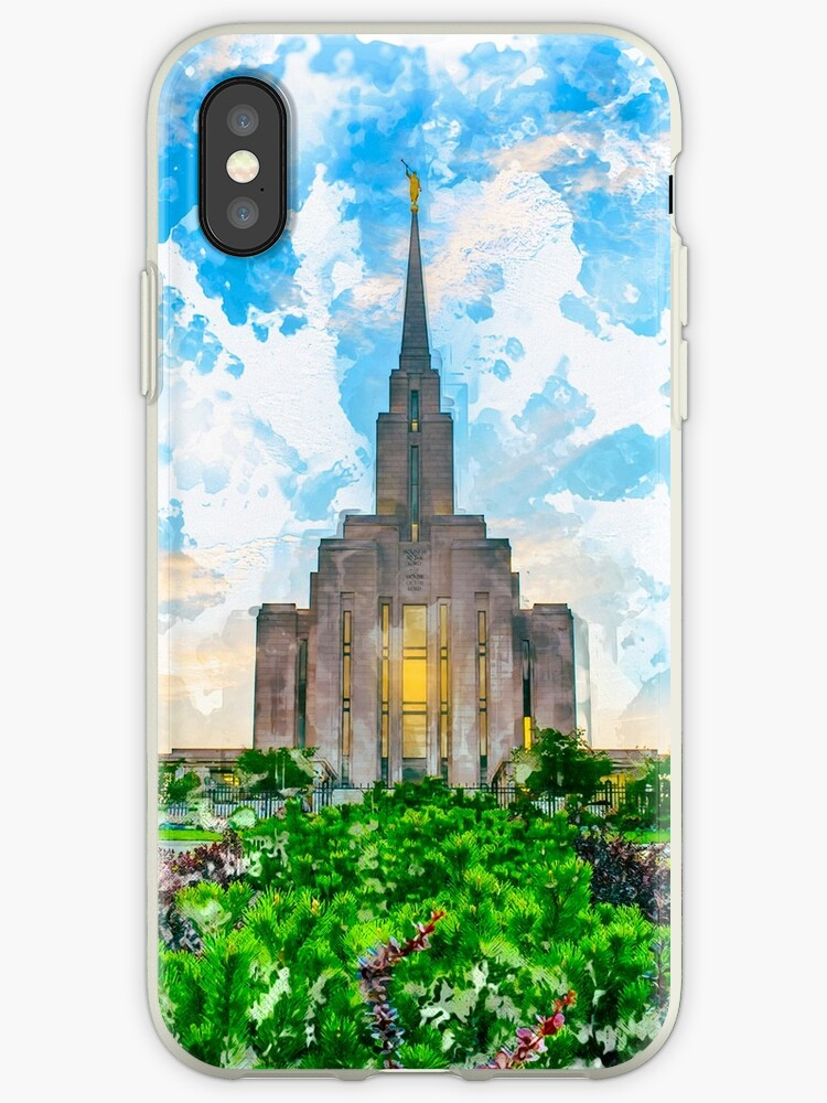 'Oquirrh Mountain LDS Temple Watercolor - Summer' iPhone Case by  melodyrosemedia