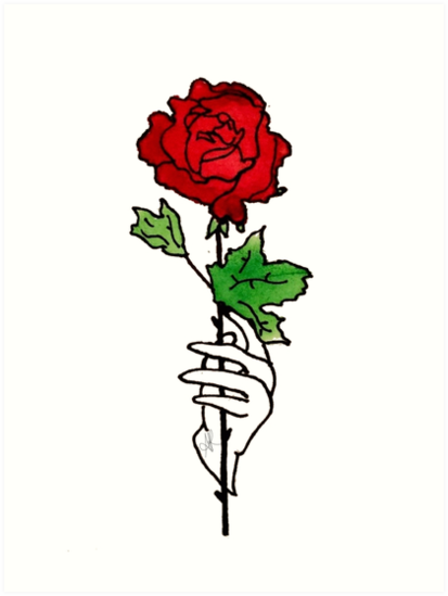 a court of thorns and roses watercolor rose single design art
