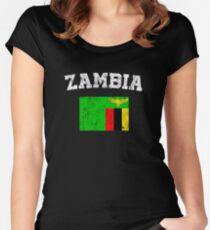 Sambisches Flaggen-Hemd - Vintages Sambia-T-Shirt Tailliertes Rundhals-Shirt