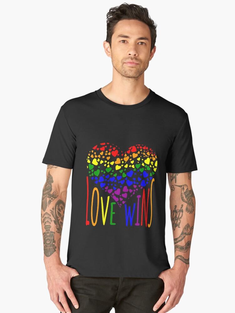 Love Wins, Marriage Equality T-Shirt design. Men's Premium T-Shirt Front