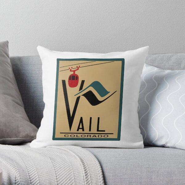Vail Colorado Vintage Travel Decal Throw Pillow