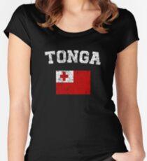 Tongan Flag Shirt - Vintage Tonga T-Shirt Women's Fitted Scoop T-Shirt