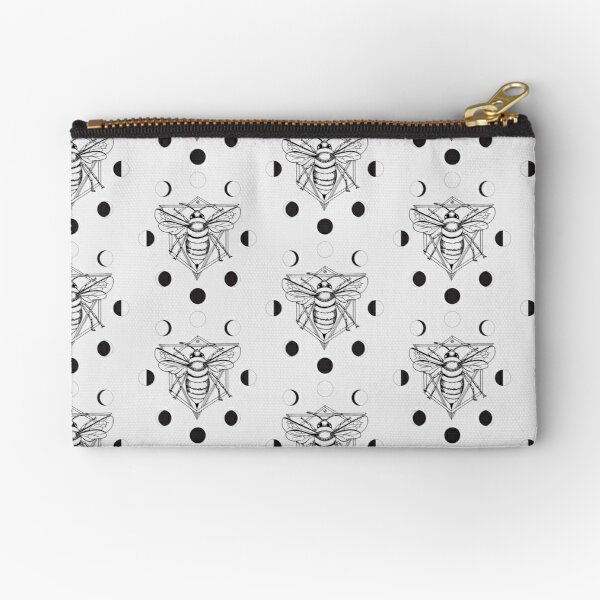 Moon Bee - Black & White Zipper Pouch