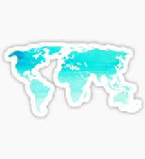 blue watercolor world map Sticker