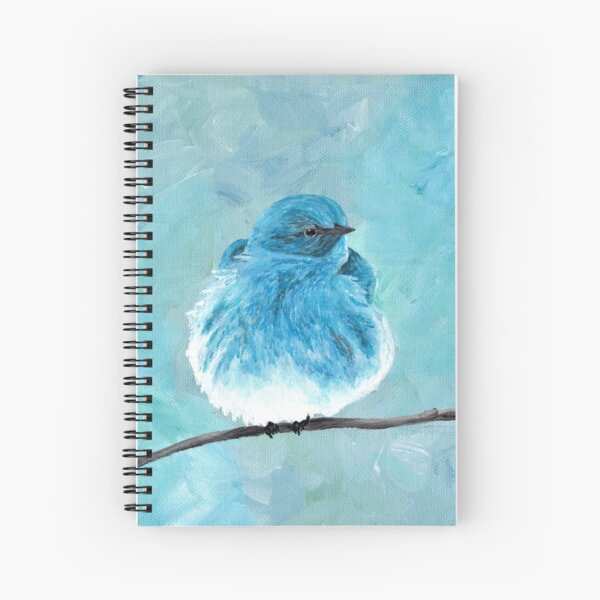 Mountain Bluebird on a Branch, Acrylic Art, Painting, Anne Hockenberry Spiral Notebook