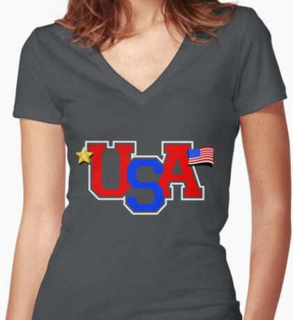 USA Pride Women's Fitted V-Neck T-Shirt