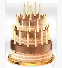 Chocolate cake with candles 2 Poster
