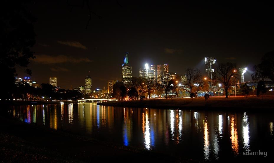 Melbourne Night Cityscape by sdarnley