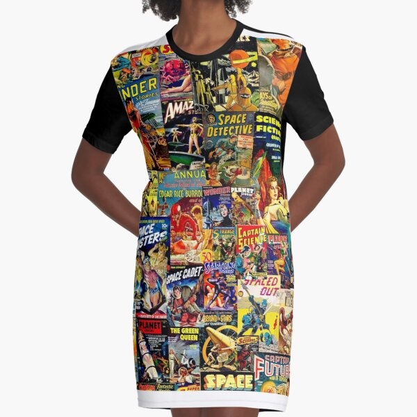 Sci-Fi Comic Collage Graphic T-Shirt Dress
