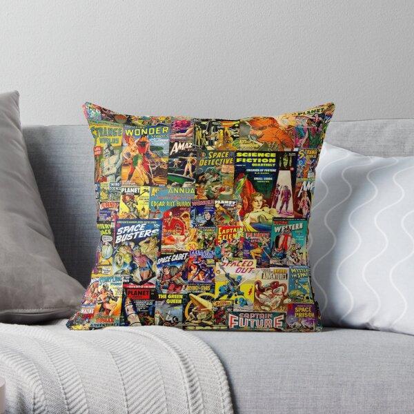 Sci-Fi Comic Collage Throw Pillow