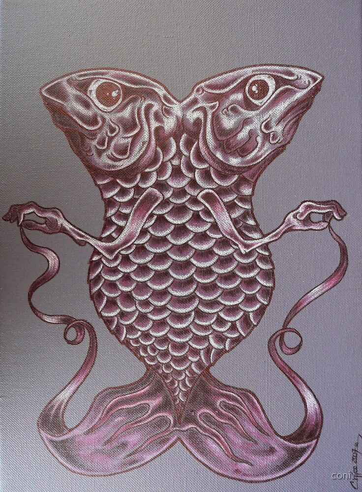 double purple fish by coni