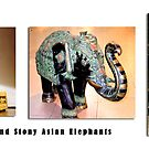 Elephant Series #17 Black, White and Stony Sculptures by Keith Richardson