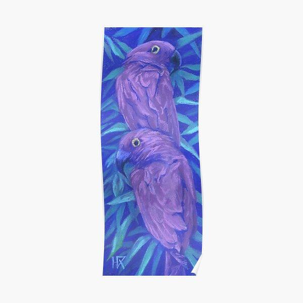 Purple parrots, Couple of Birds, Tropical Animals Pastel Poster