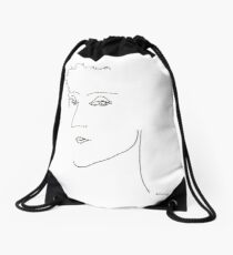 Abstract sketch of face IV Drawstring Bag