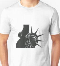 NY Statue of Liberty - linocut print in black T-Shirt
