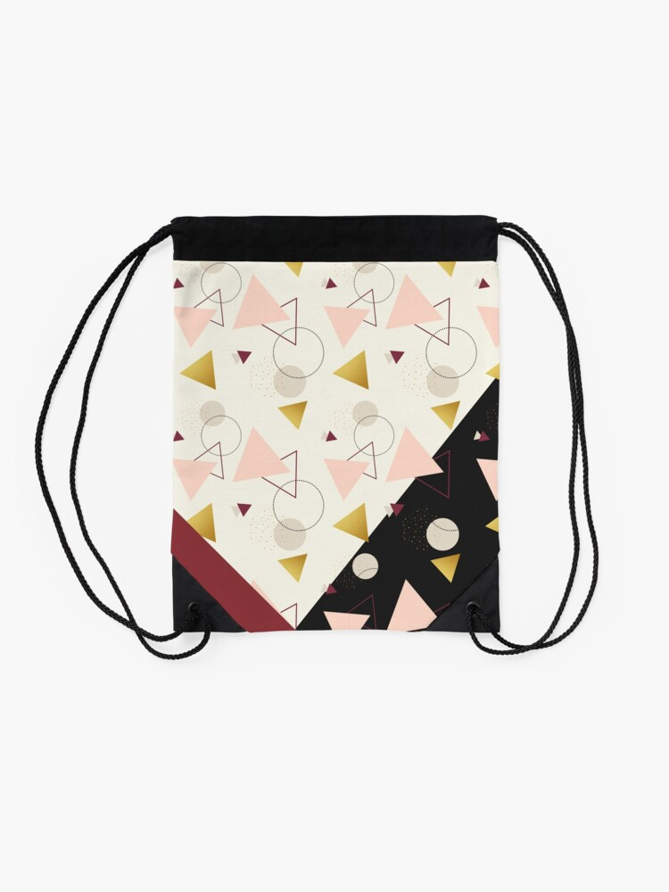 Alternate view of Triangles Mix #redbubble #decor #buyart Drawstring Bag