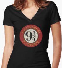 Platform 9 3/4 Distressed Women's Fitted V-Neck T-Shirt