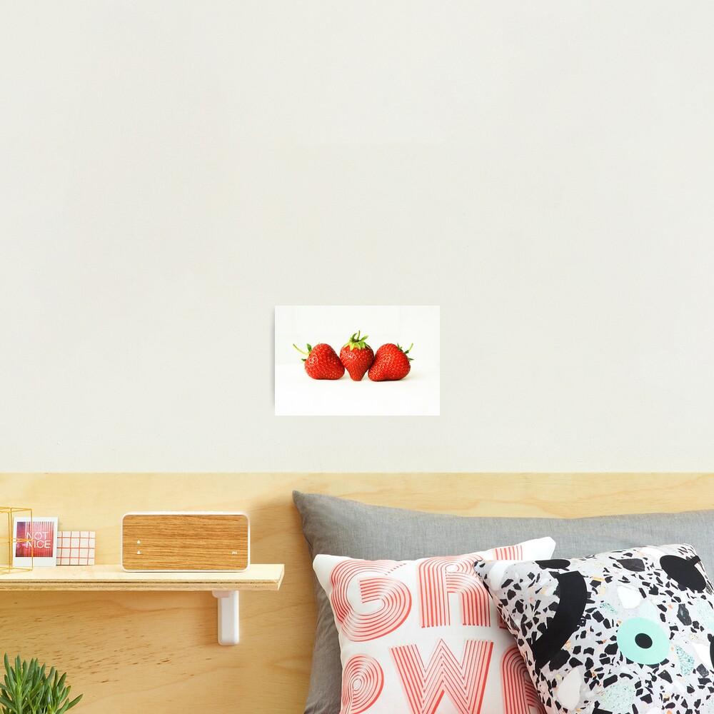 Three Strawberries On White Photographic Print