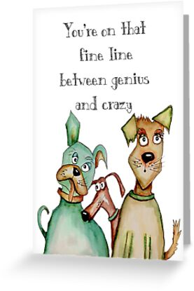 Crazy genius dog greeting cards by jenny wood redbubble crazy genius dog by jenny wood m4hsunfo
