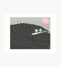 japanese sunset surf Art Print