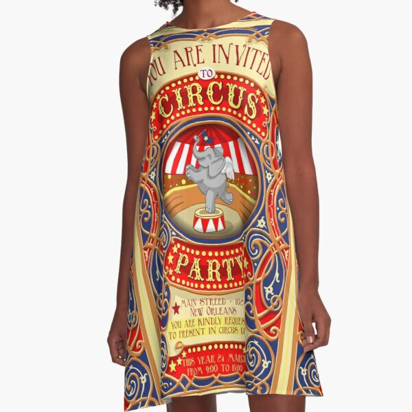 Dumbo Flying Elephant Circus Party  A-Line Dress
