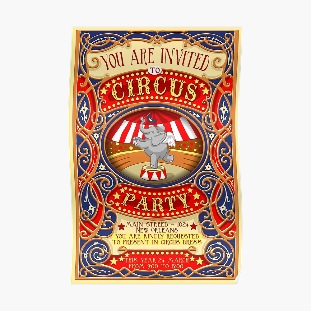 Dumbo Flying Elephant Circus Party  Poster