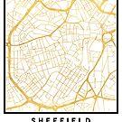 SHEFFIELD ENGLAND CITY STREET MAP ART by deificusArt
