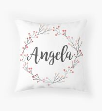 Angela | First Name in Pink Wreath Throw Pillow