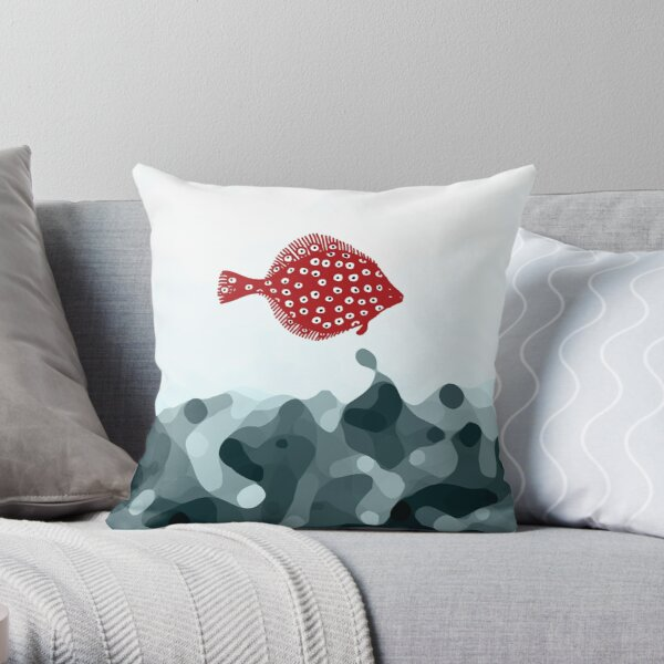 Little Red Fish Throw Pillow