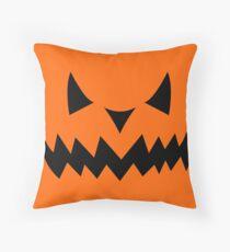 Halloween Jack-O-Lantern Pumpkin Evil Face Sihouette Throw Pillow
