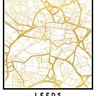 LEEDS ENGLAND CITY STREET MAP ART by deificusArt