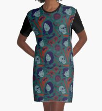 MFM-Color Murderino Pattern Graphic T-Shirt Dress
