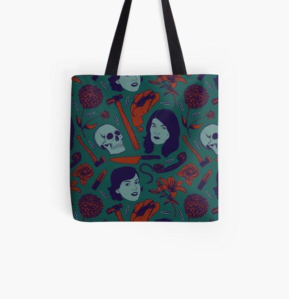 Vintage Color True Crime Pattern All Over Print Tote Bag