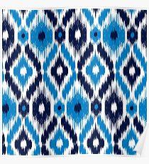 Blue Batik Pattern 24 Poster