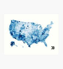 US map visualisation: unemployment rate (D3.js) Art Print