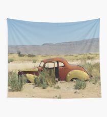 Desert Landscape, Abandoned Car Wall Tapestry