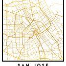 SAN JOSE CALIFORNIA CITY STREET MAP ART by deificusArt