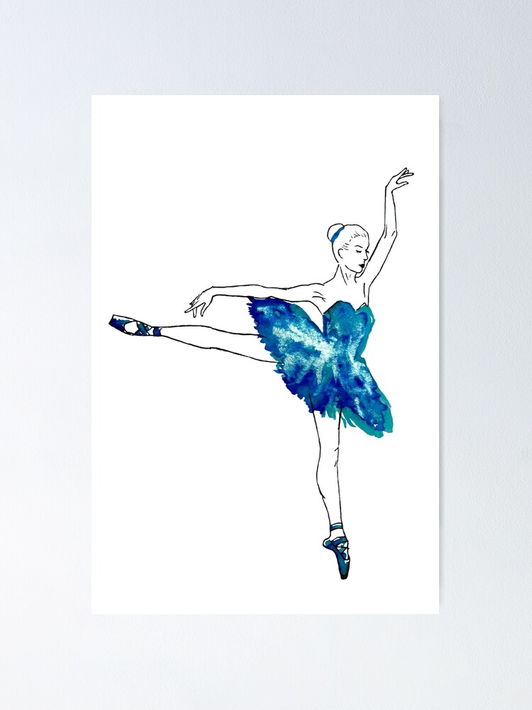 Watercolour Ballerina Poster By Galacticthought Redbubble