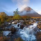 Glen Coe. Buachaille Etive Mòr. Misty morning in Autumn. River Coupall Waterfalls. Highland Scotland. by PhotosEcosse