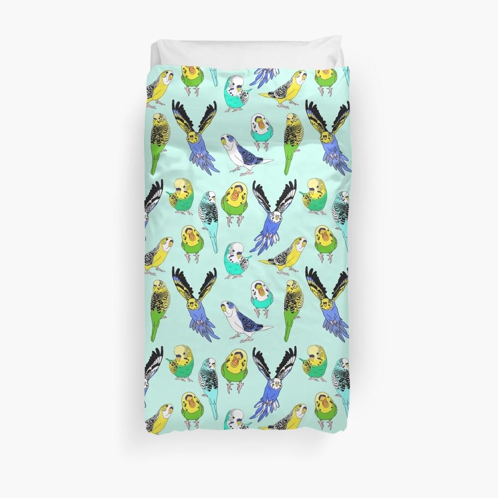 budgie doodle pattern Duvet Cover