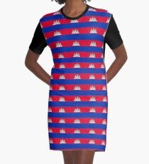 Cambodia Flag Products Graphic T-Shirt Dress